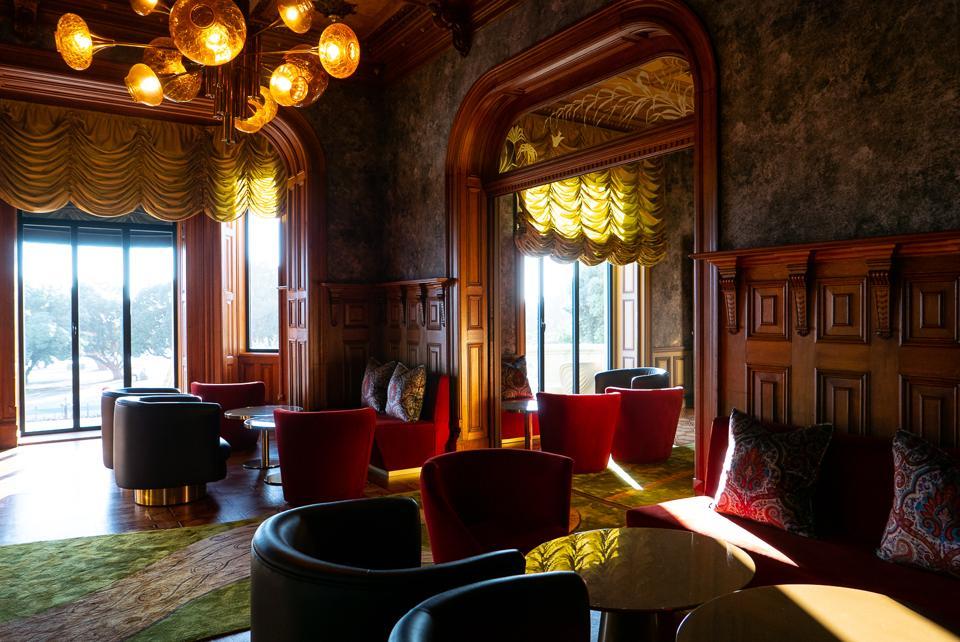 Sunlight streams through the windows of the Vila Foz Hotel in Porto, Portugal.