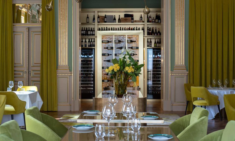 The dining room of the Vila Foz Restaurant in Porto is opulent.