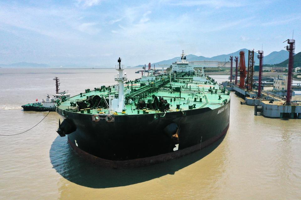 The VLCC MARAN ARIES unloads 278174 tons crude oil in Zhoushan,Zhejiang,China on 07th June, 2020