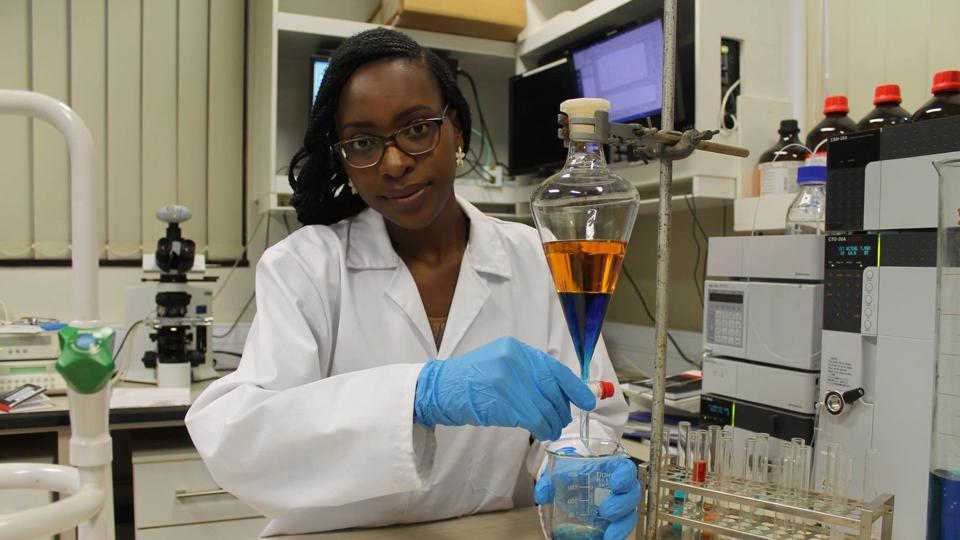 Emmie Chiyindiko, 26, chemistry Ph.D. student at South Africa's University of Free State,