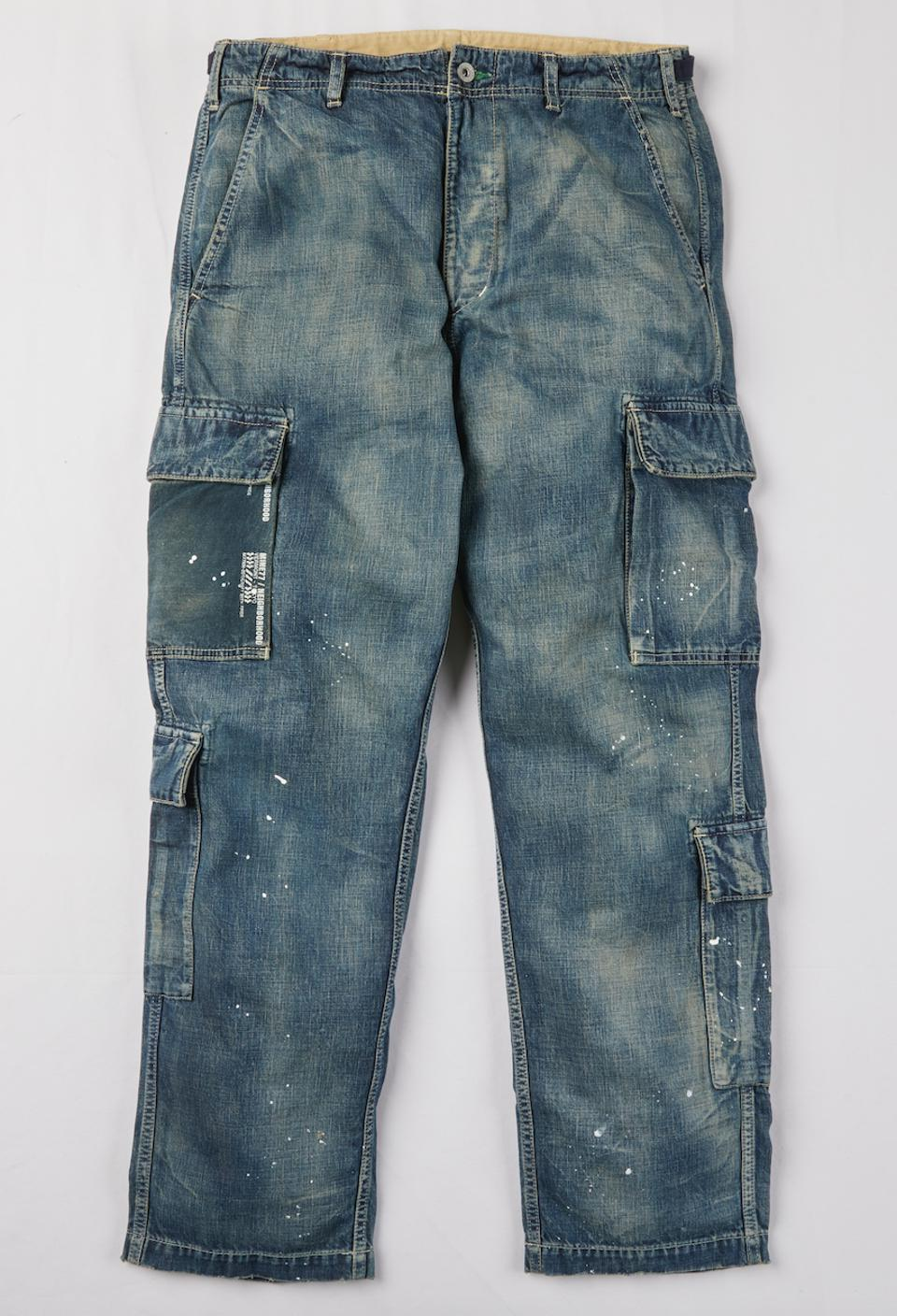 The Burton Mine77 x NEIGHBORHOOD 8-Pocket Cargo Jeans – 100% Premium Cotton Flannel; Upper and Lower Leg Cargo Pockets; Magnetic Fly Opening; Distressed Denim Effect