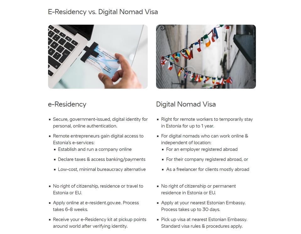The Digital Nomad Visa compared to Estonia's e-Residency program