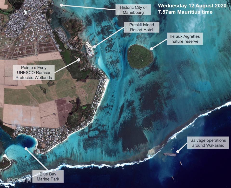 Satellite image of Wakashio operations