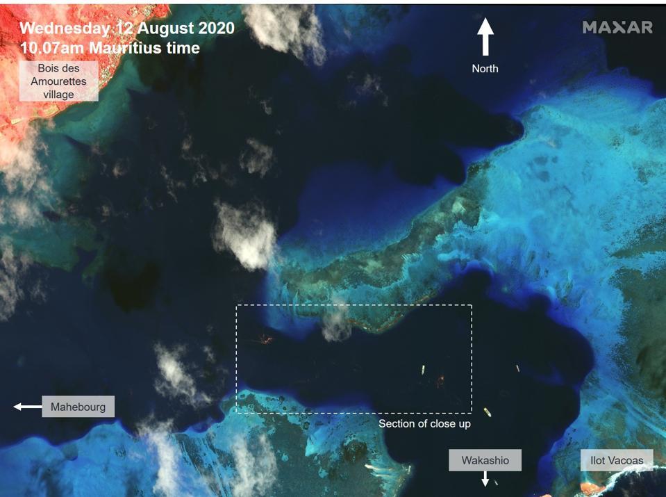 Satellite multispectral image of oil leak in Mauritius