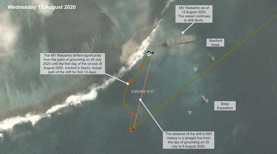 Satellite AIS analysis by Windward reveal that the MV Wakashio drifted for over 700 meters along the reef