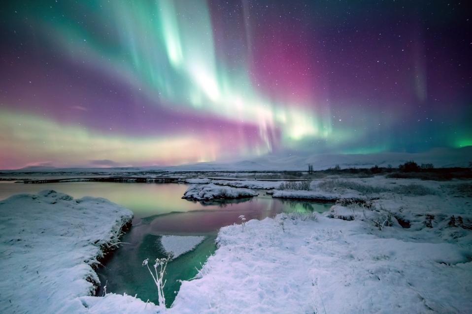 The northern lights above Iceland's Thingvellir National Park.