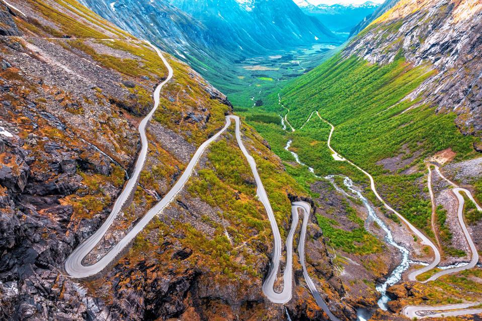 A view down on the Trollstigen road in western Norway.