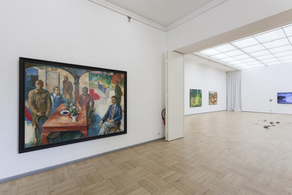 paintings on white walls