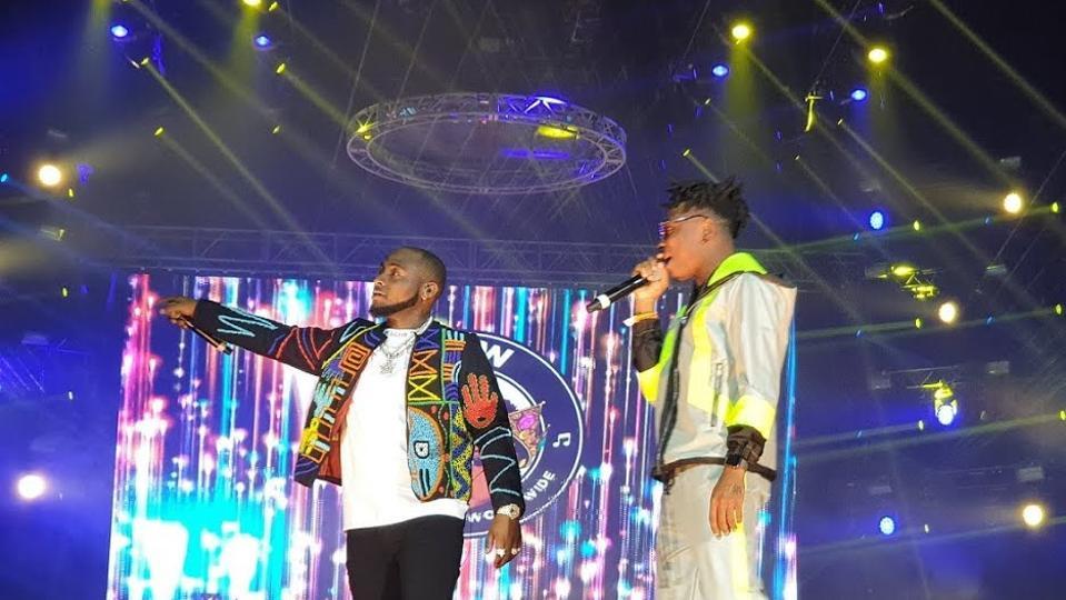 Davido and Mayorkun performing