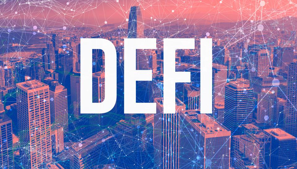 Decentralized Finance theme with abstract network patterns and skyscrapers