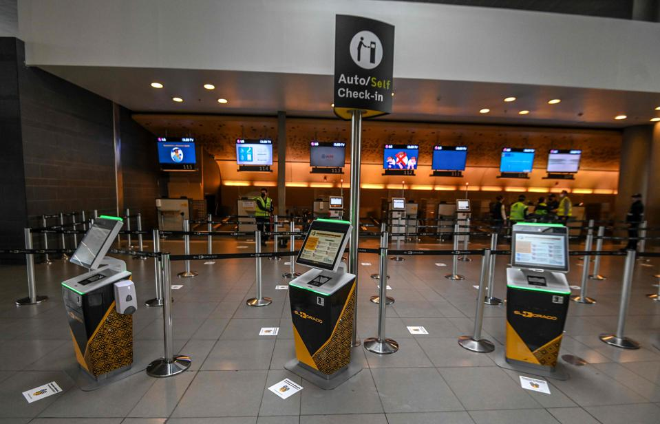 View of the check-in area at El Dorado international airport in Bogota Colombia amid covid