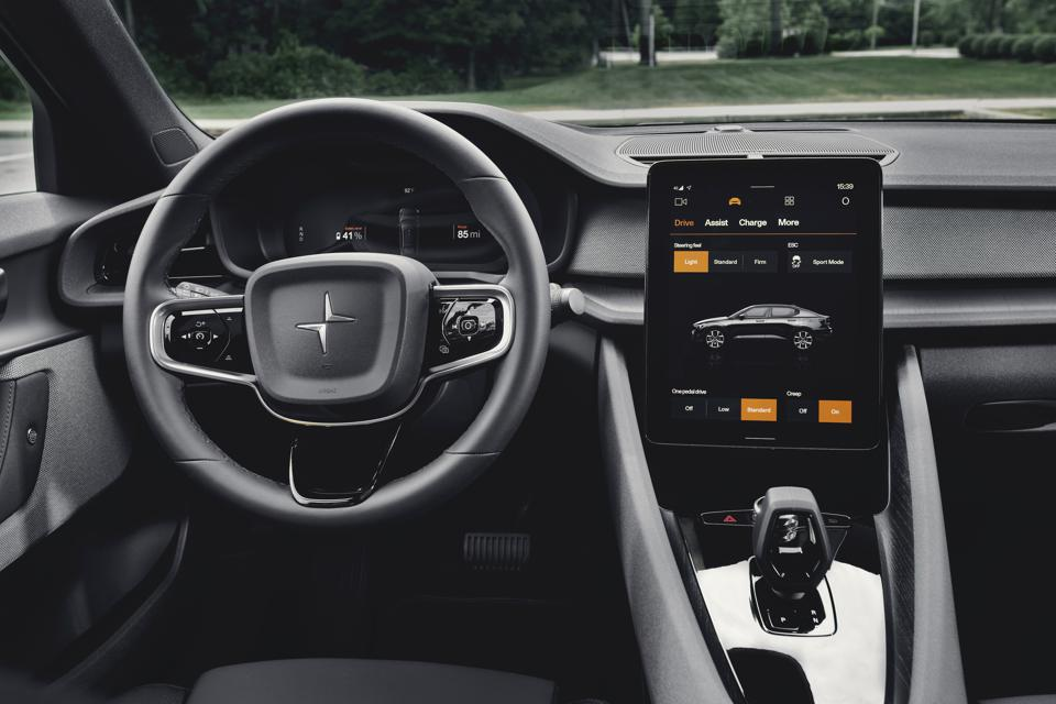 Polestar 2's 11.15-inch tablet featuring Android Automotive OS