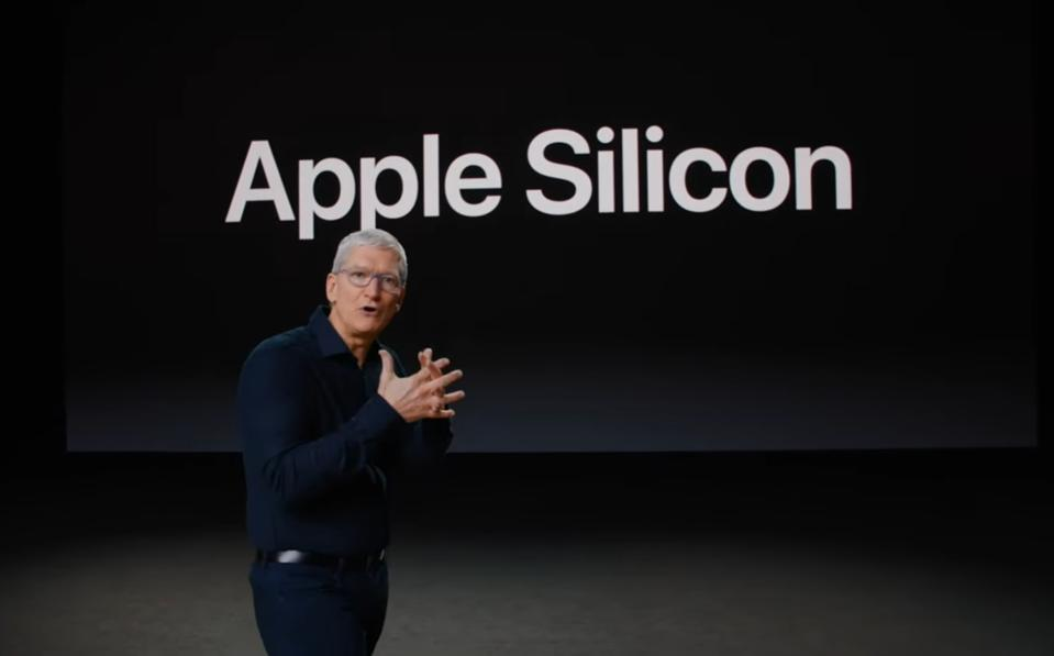 Apple CEO Tim Cook unveiling Apple Silicon.