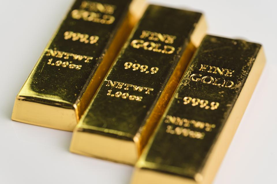 Gold bar bullions ingot, selective focus, crisis safe haven for investment or reserve for country economics