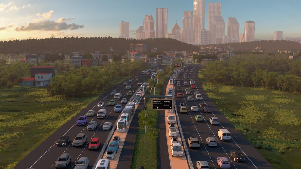 Rendering of a potential connected transportation corridor with dedicated laneways for shared mobility vehicles