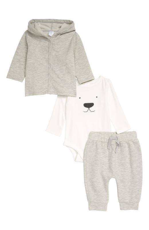 Nordstrom Snap Hoodie, Long Sleeve Bodysuit and Pants Set (Baby)