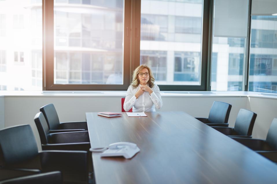 business woman preparing for a big meeting - afraid