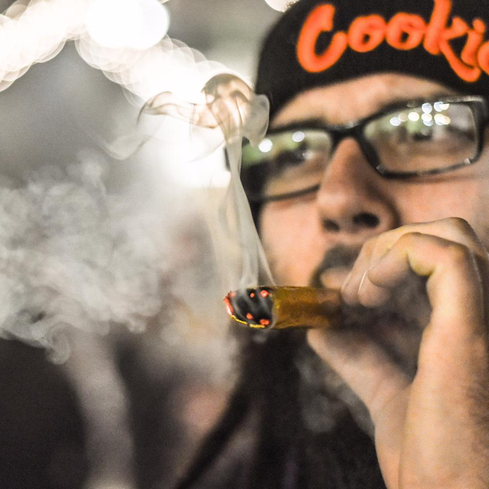 Johnny smoking a cannagar