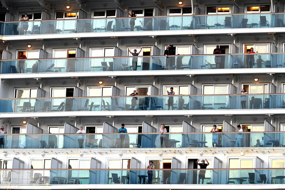Passengers aboard ″plague″ Covid ship Ruby Princess after it docked in Sydney Australia