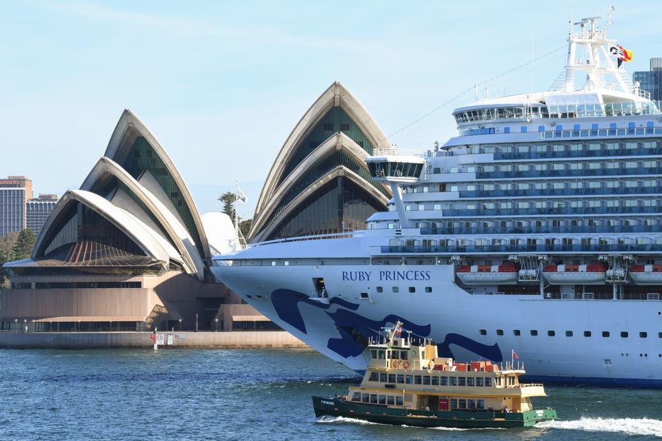 Ruby Princess cruise ship departs Passenger terminal in Circular Quay Sydney Australia