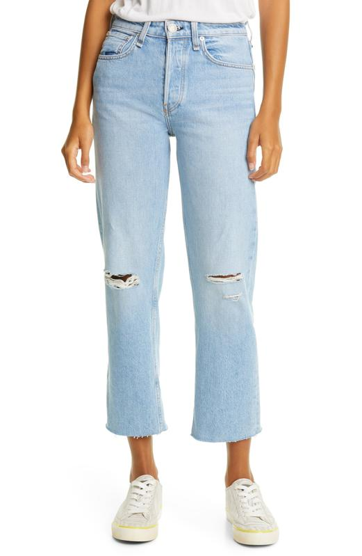 rag & bone Maya Ripped High Waist Ankle Straight Leg Jeans