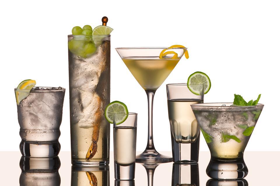 Close-Up Of Vodka Cocktails Over White Background