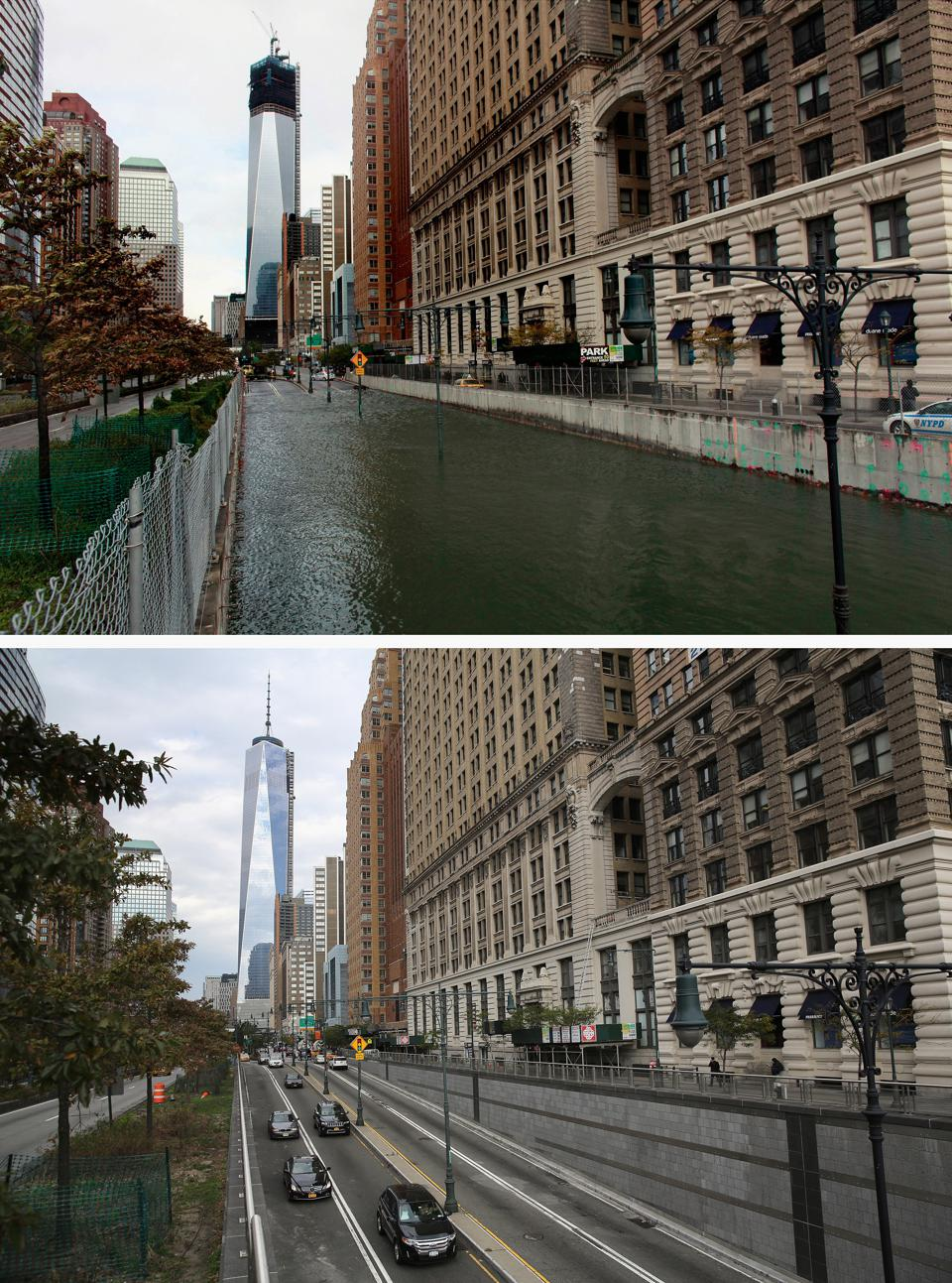 The Brooklyn-Battery tunnel normally and after Hurricane Sandy made landfall in New York