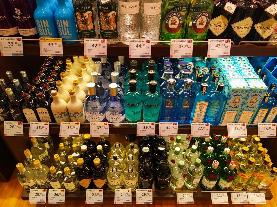 Bottles of various gin brands (Photo by Igor Golovniov/SOPA Images/LightRocket via Getty Images)