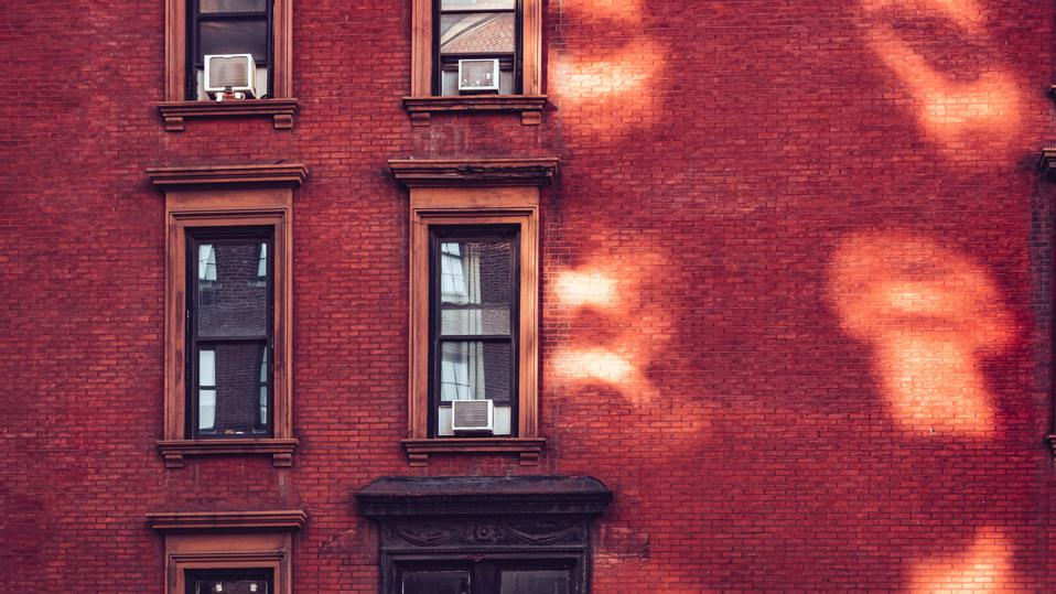 Brick wall of apartment building in midtown Manhattan