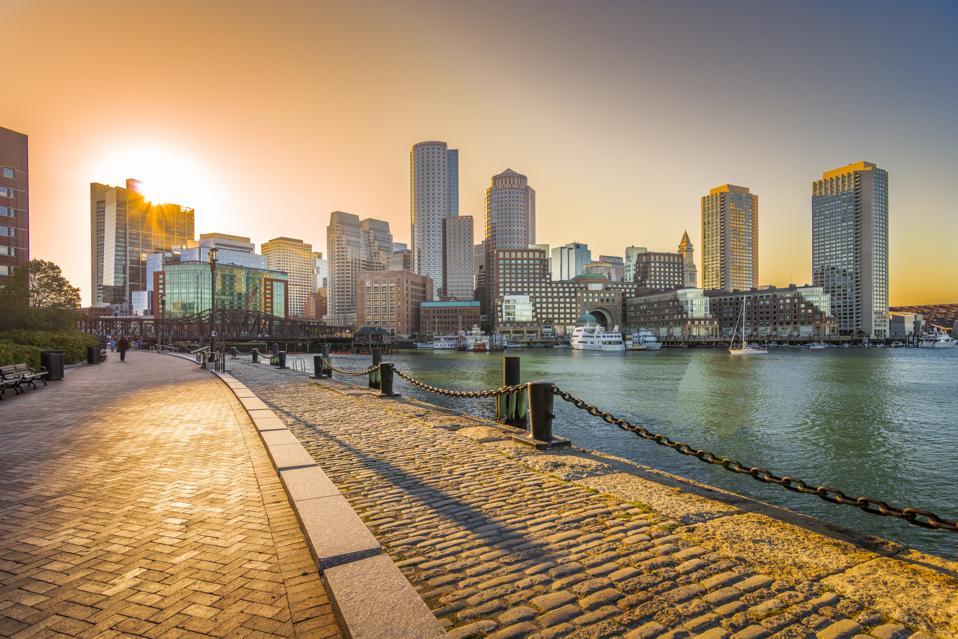 Boston Skyline at the sunset