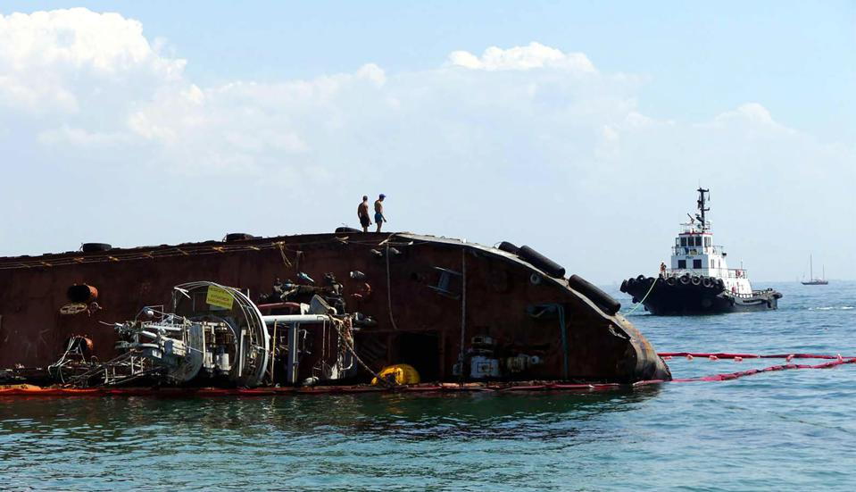 Work underway to remove capsized Delfi bunker tanker out of Black Sea in Odessa