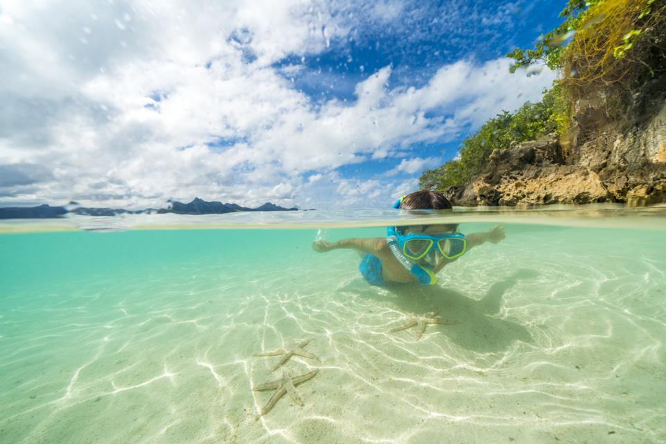Little boy looks at starfish snorkeling in the lagoon, Mauritius Island