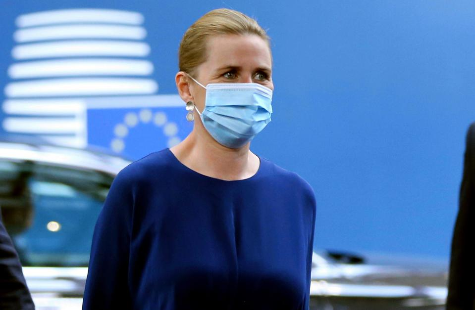 Denmark prime minister wears a face mask at an EU Summit in Brussels