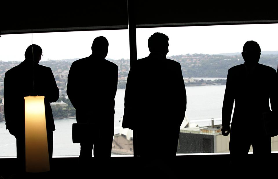 Businessmen in a boardroom, 22 February 2006. AFR Picture by ROB HOMER