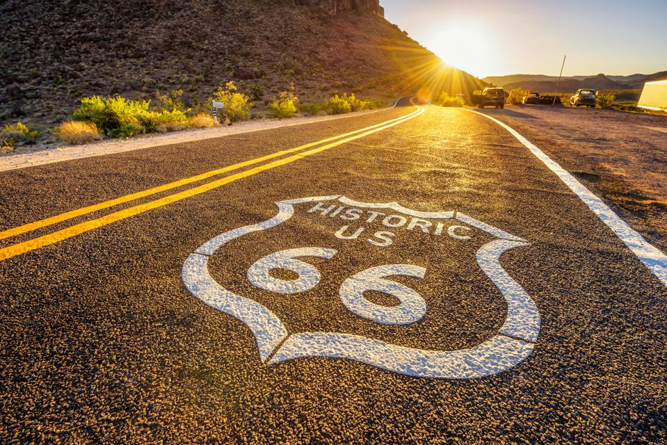 Street sign on historic route 66 in the Mojave desert