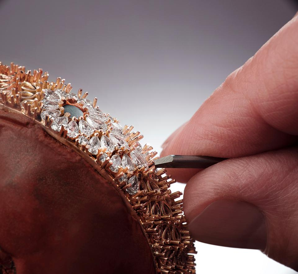 Setting diamonds into the Snowdrop watch by Jaeger-LeCoultre.
