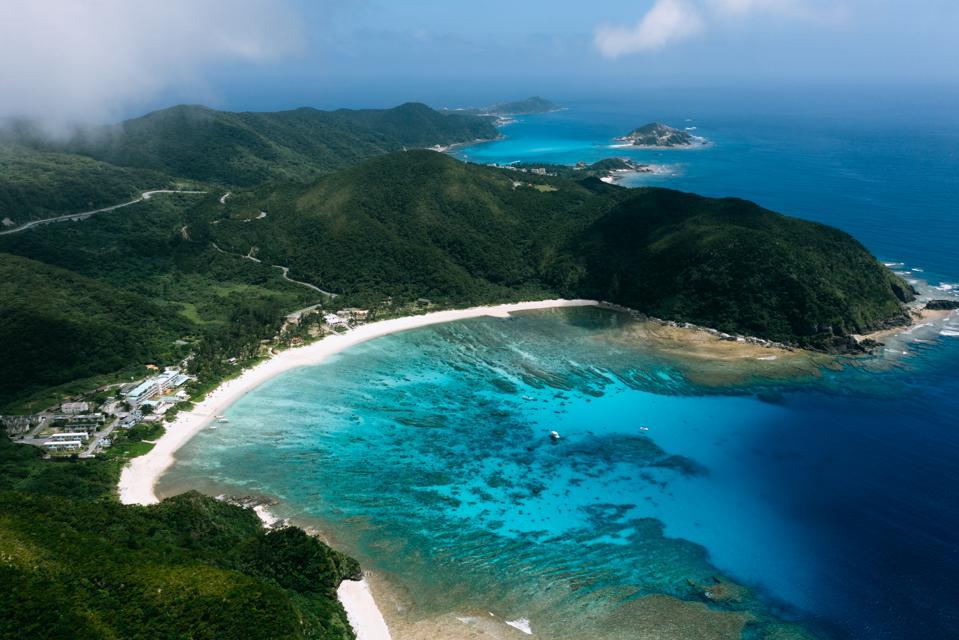 Aerial view of tropical bay, Tokashiki Island, Okinawa, Japan