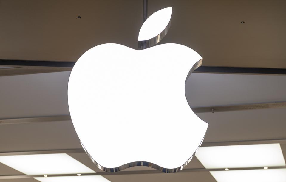 American multinational technology company, Apple logo seen...