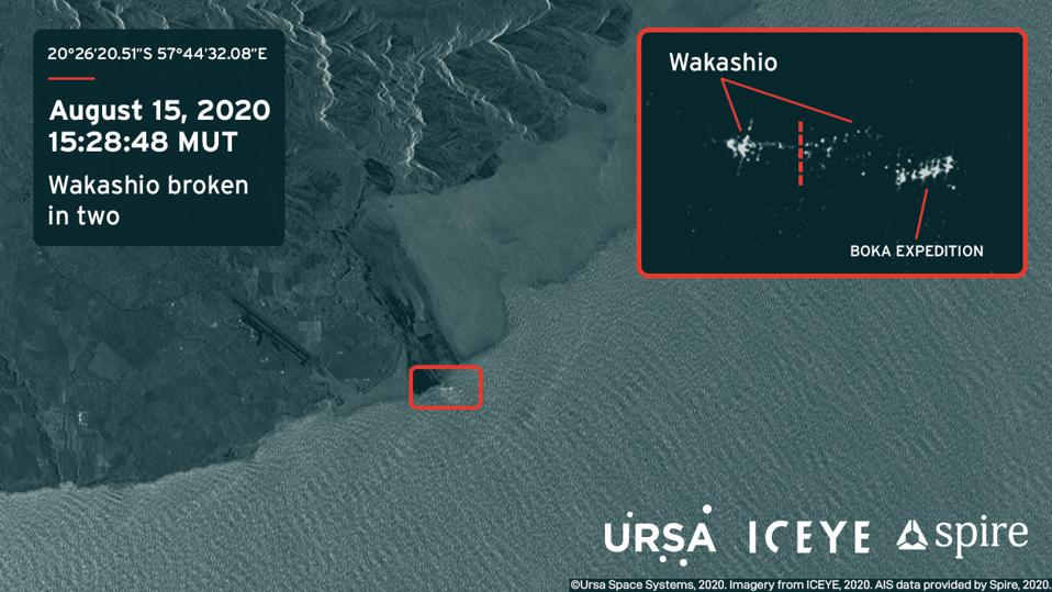 Saturday 15 August 2020, 5.28pm A radar satellite image by Iceye and analysis by Ursa Space Systems reveal hull of Wakashio with a clear break