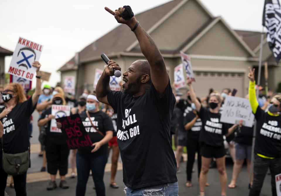 Protestors Rally At Minneapolis Police Union Chief's Residence