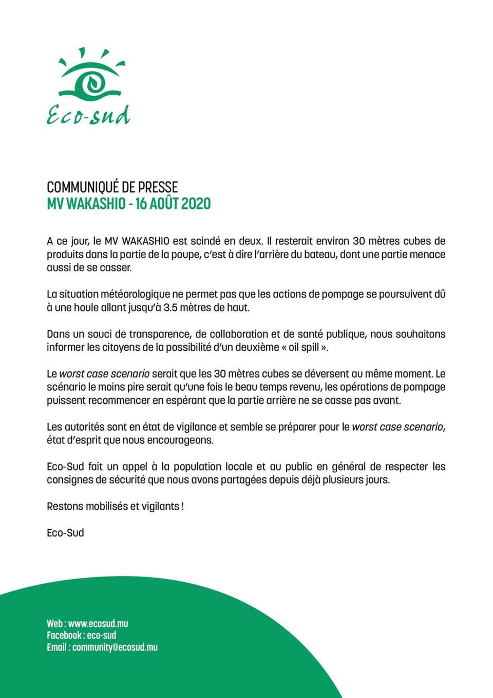 Press Release by Mauritian Environmental NGO Eco Sud highlights risk of a second oil spill from the 30 square meters (7000 gallons) of oil remaining on board
