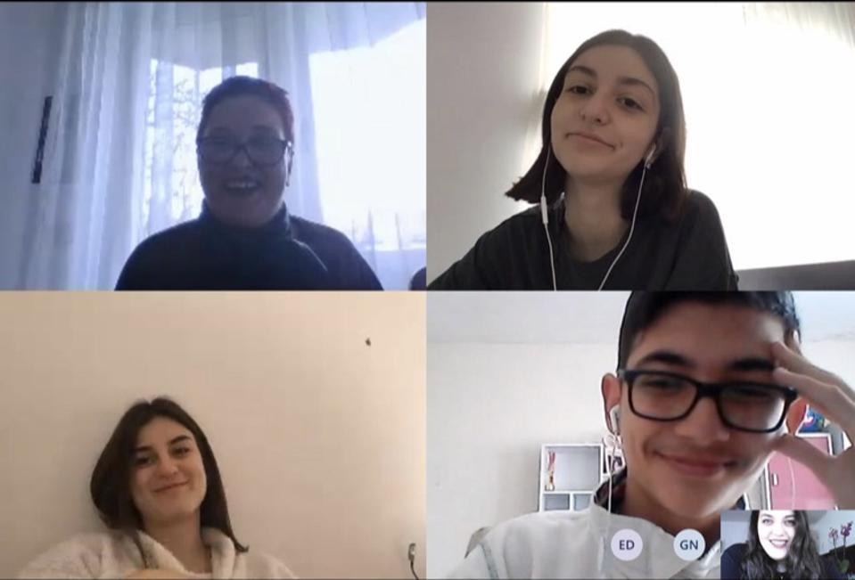 International students talking online.
