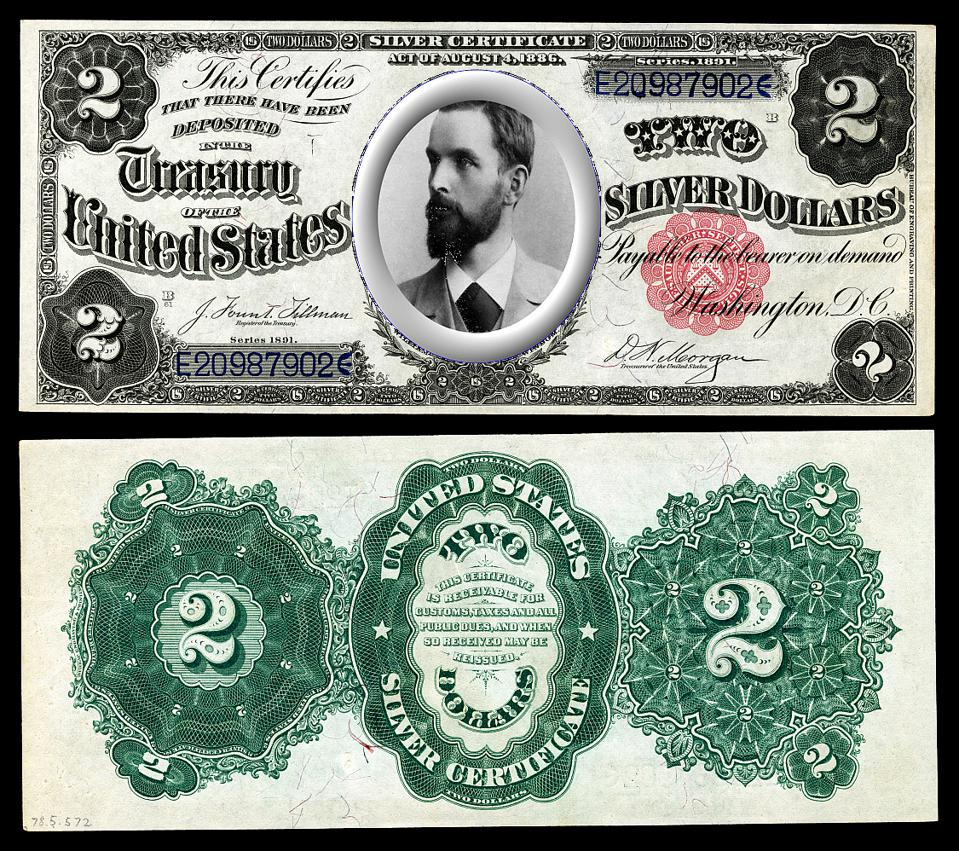 An 1865 two dollar bill with Silvio Gesell's picture overlaid