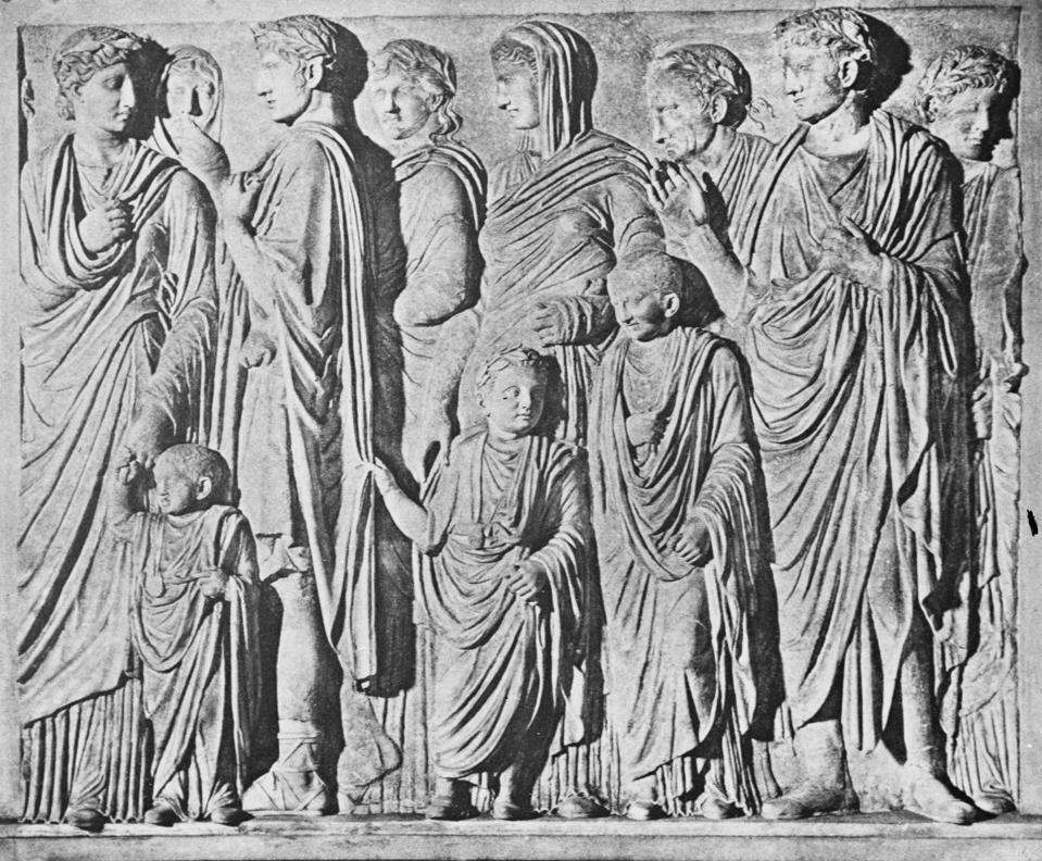 Detail of Imperial Procession Portion of Frieze from Ara Pacis Augustae in Rome