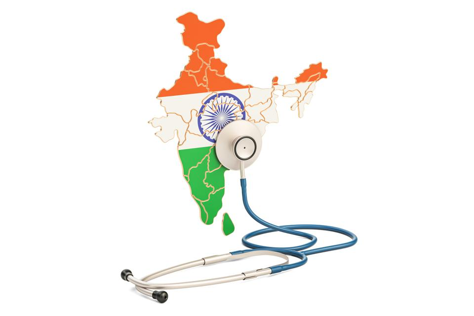 Indian map with stethoscope, national health care concept, 3D rendering
