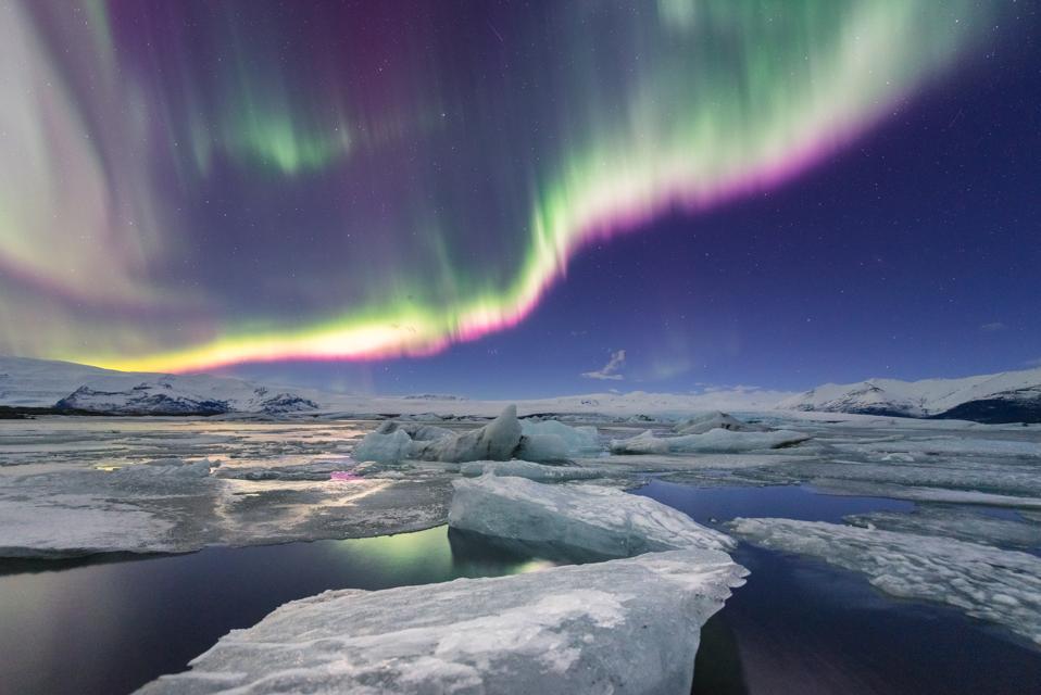 Northern light displays over Jokulsarlon glacier lagoon, Iceland.