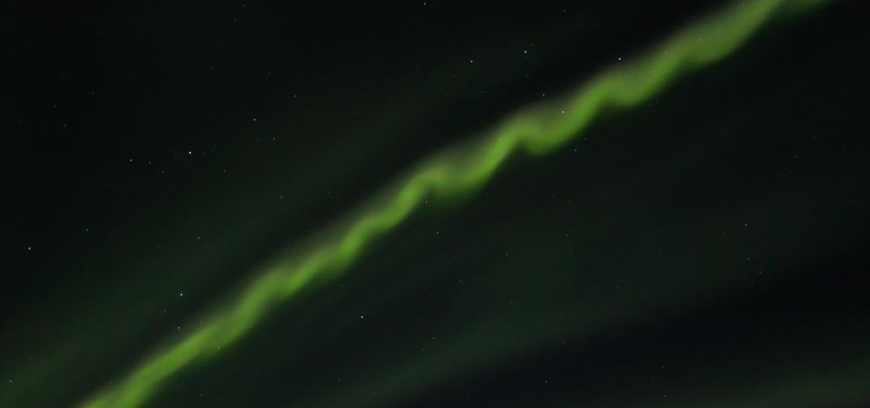 ″Auroral beads″ captured in Finland in October 2014 just before a strong display of aurora.