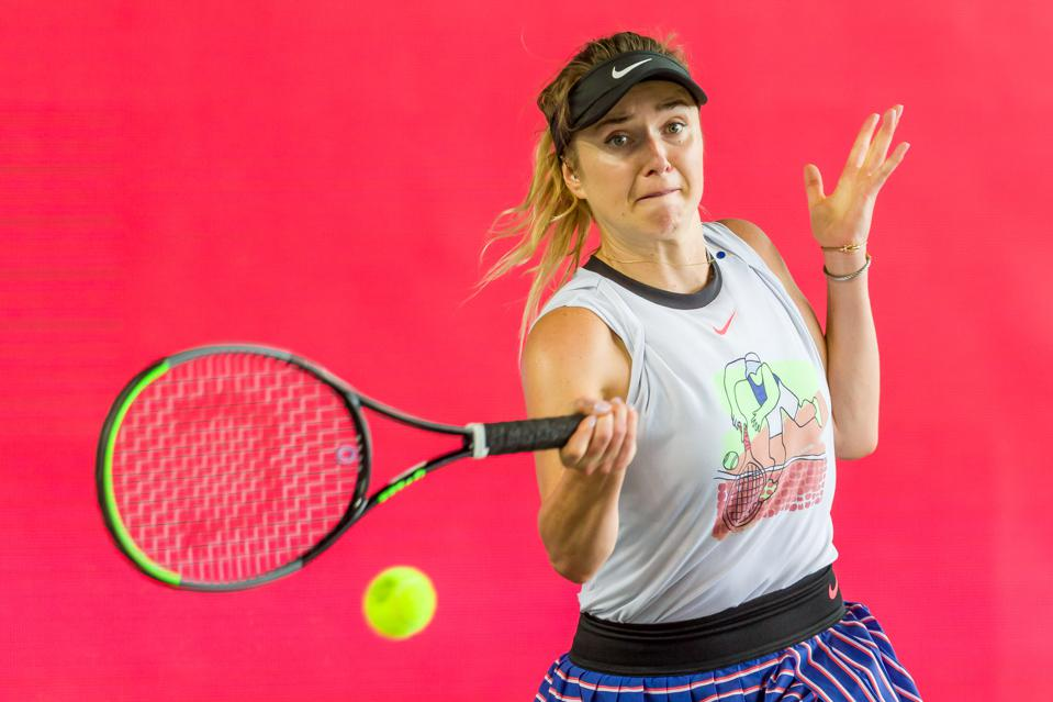 BERLIN, GERMANY - JULY 19: (BILD ZEITUNG OUT) Elina Svitolina of Ukraine controls the ball during a match against Andrea Petkovic of Germany at day 6 of the tennis tournament bett1ACES at Hangar 6 of the former aiport Tempelhof on July 19, 2020 in Berlin, Germany. (Photo by Mario Hommes/DeFodi Images via Getty Images)