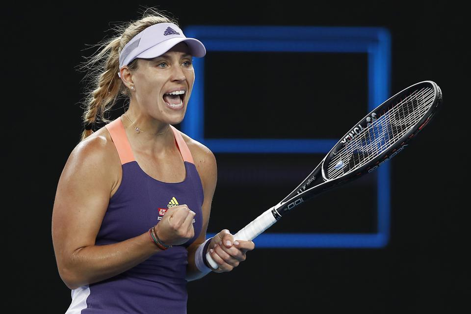 MELBOURNE, AUSTRALIA - JANUARY 27: Angelique Kerber of Germany celebrates after winning a point in her fourth round match against Anastasia Pavlyuchenkova of Russia on day nine of the 2020 Australian Open at Melbourne Park on January 27, 2020 in Melbourne, Australia. (Photo by Daniel Pockett/Getty Images)