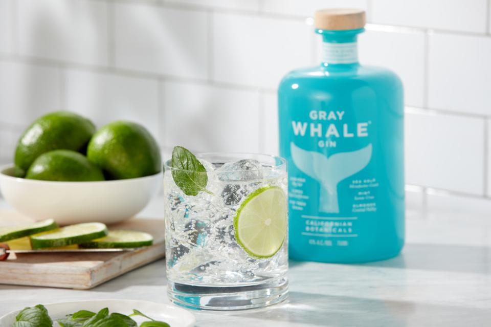 A gin and tonic made with Gray Whale.